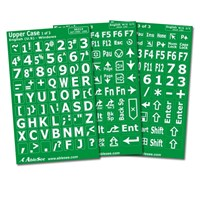 Computer Keyboard Labels - White Characters on Green Background