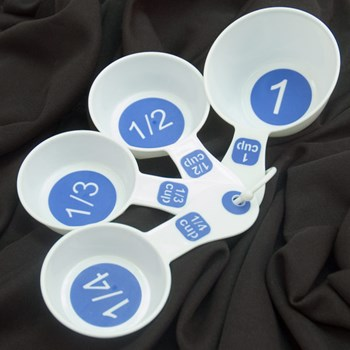 Measuring Cups with Large Print-Set-4 White-Blue