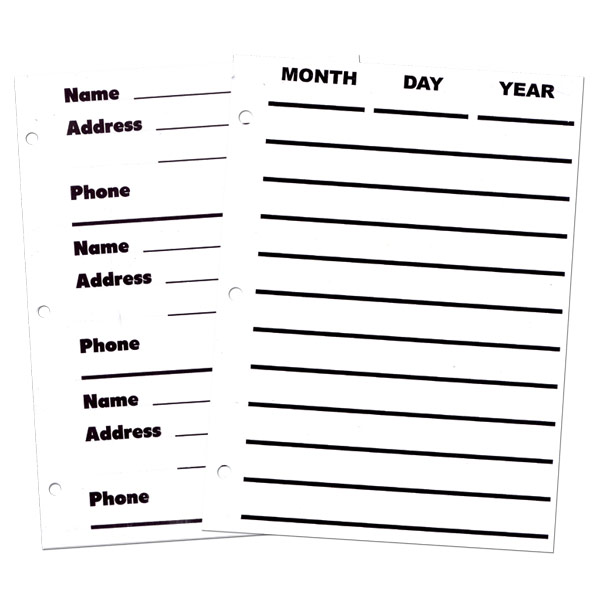 image regarding Printable Address Book Pages called Refill web pages for Big Print Organizer- 50 Sheets