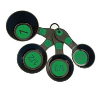 Measuring Cups with Large Print-Set-4 Black-Green