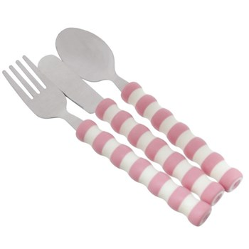 The Gripables Utensil Set- Pink and White