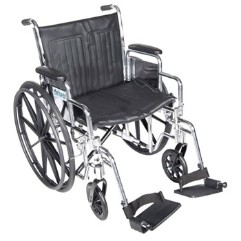 Chrome Sport 20-in Wheelchair-Full Arms-Footrests