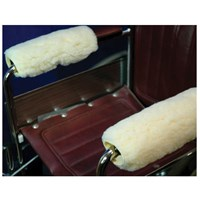 Synthetic Shearling Wheelchair Armrest Covers - 14 Inch
