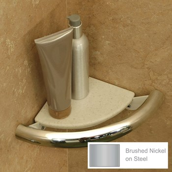 Invisia Bath Corner Shelf-Support Rail- Nickel