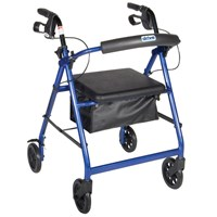 Picture of Aluminum Rollator - Blue, 4 Wheel, 6 inch Casters w Loop Lock