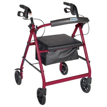 Aluminum Rollator - Red, 4 Wheel, 6 inch Casters w Loop Lock