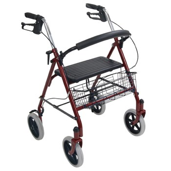 Durable 4-Wheel Rollator with 7.5-in Casters-Red
