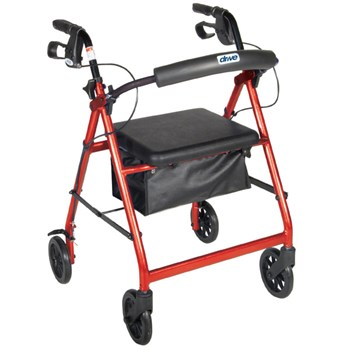 Aluminum Rollator - Red, 4 Wheel, 8 inch Casters w Loop Lock