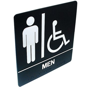 Tactile Braille Signs - Men; Handicap