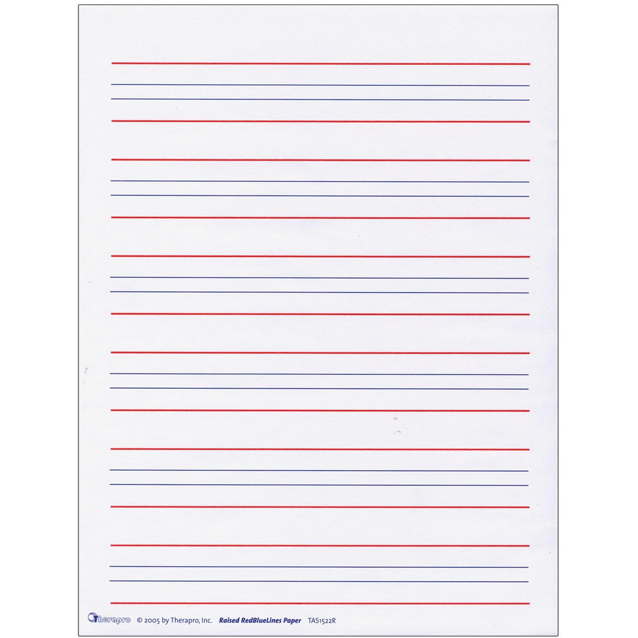maxiaids raised line writing paper red and blue lines package  raised line writing paper red and blue lines package of 50
