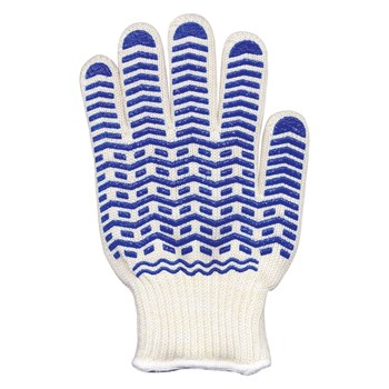 Oven Glove with Blue Non-Slip Silicone Grip - Large