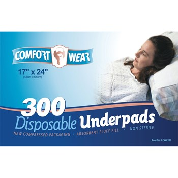 Disposable Underpads - 17x24-in -300-cs