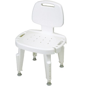 Adjustable Shower Seat with Back, No Arms