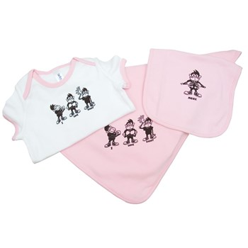 I Love Daddy Gift Set Pink Bib, Blanket, Onesie for 12 to 18 Mo.