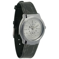 Mens Chrome Quartz Braille with Leather Band