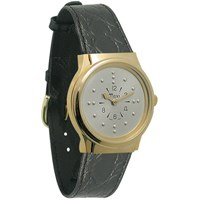 Mens Gold-Tone Authomatic Braille Watch with Leather Band