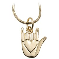 I Love You Hand-Shaped Medallion with Heart and Chain - Gold Plated