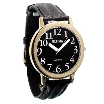 Ultima Low Vision Watch - Black Dial - White Numbers - Leather-Unisex