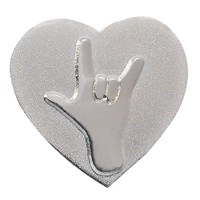 Heart-Shaped Pin with I Love You Symbol - Silver