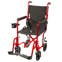 Drive Deluxe Lightweight Transport Chair- Red
