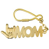 I Love You MOM Keychain - Matte Gold Colored