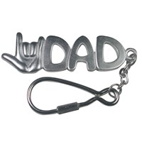 I Love You Dad Keychain -Silver