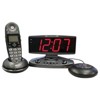 Wake Up Call Alarm Clock with Phone Alert Strobe Light and Bed Shaker