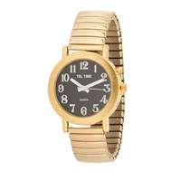Tel-Time Mens Gold Tone Expansion One Button Talking Watch- Black Face