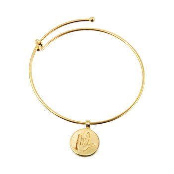 ILY Round Charm Bangle - Gold