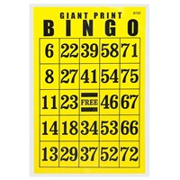 Giant Print Bingo Card - Black on Yellow Background - REDUCED PRICE