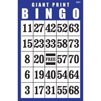 Giant Print Laminated BINGO Card- Blue