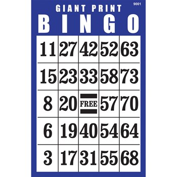 Giant Print BINGO Card- Blue
