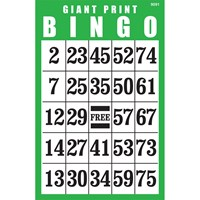 Giant Print Laminated BINGO Card- Green