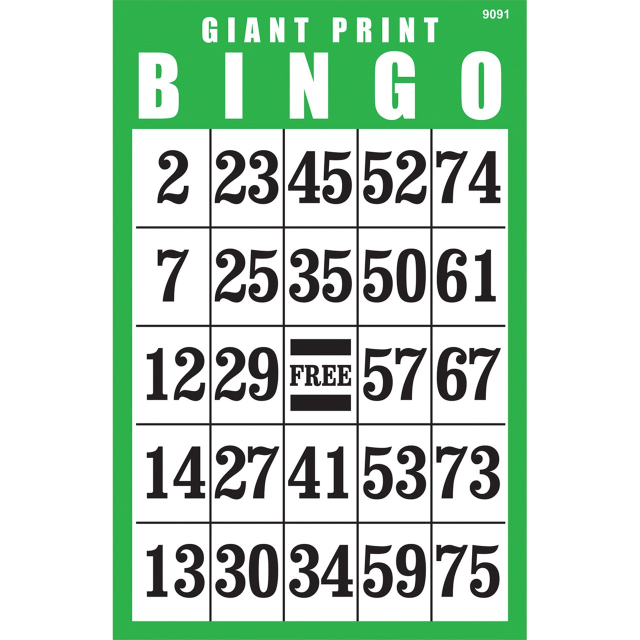 Giant Print BINGO Card Green