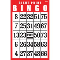 Giant Print Laminated BINGO Card- Red