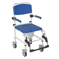 Drive Medical Aluminum Rehab Shower Commode Chair with 5-in Casters
