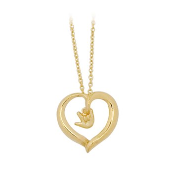 Gold-Plated Open Heart Necklace