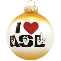 I Love ASL Glass Ornament