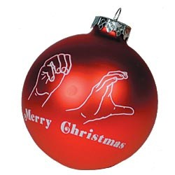 Merry Christmas Sign Language Glass 3 in. Ornament