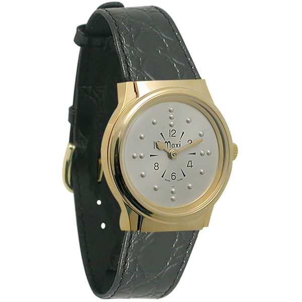 maxiaids mens gold tone authomatic braille with