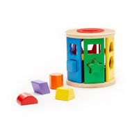 Melissa and Doug Tactile Match and Roll Shape Sorter Drum - 12 Pieces