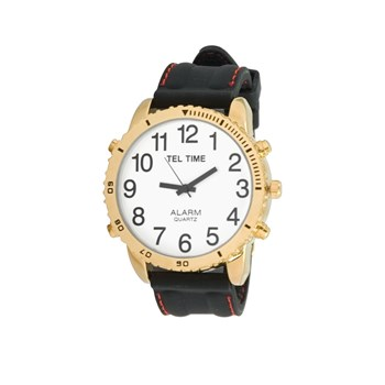 Large Dial Gold Tone Talking Vibrating Watch with Black Rubber Band