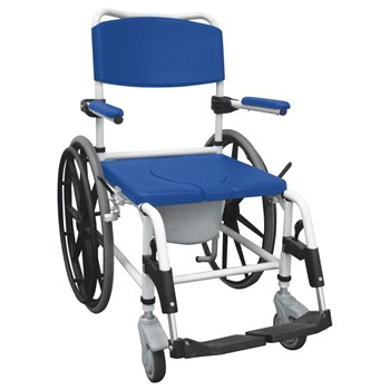 Aluminum Rehab Shower Commode Chair with 24 inch Rear Wheels