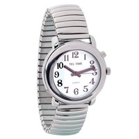 Unisex Tel-Time Talking Watch - One Button - Chrome