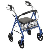 Durable 4-Wheel Rollator with 7.5-in Casters - Blue