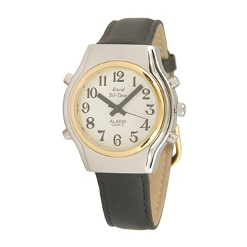 Mens Spanish Royal Tel-Time Bi-Color Talking Watch- Leather Band