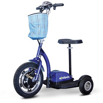 E-Wheels EW-18 Stand-N-Ride 3-Wheel Electric Mobility Scooter - Blue