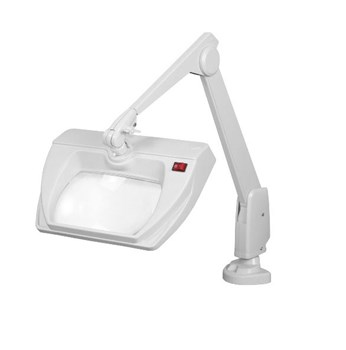 Dazor Stretchview 28-Inch Clamp Base LED Magnifier 5D 2.25X - White