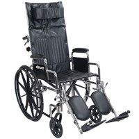 Chrome Sport Full-Reclining Wheelchair- 16 in. w-Full Arms
