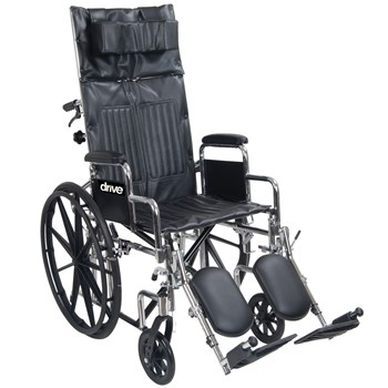 Chrome Sport Full-Reclining Wheelchair- 20 in. w-Full Arms
